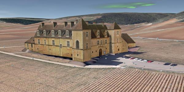 Google Earth reconstruit en 3D le Château du Clos de Vougeot (Archive 2013)